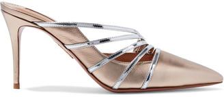 Aquazzura Minou 85 Metallic And Mirrored-leather Mules
