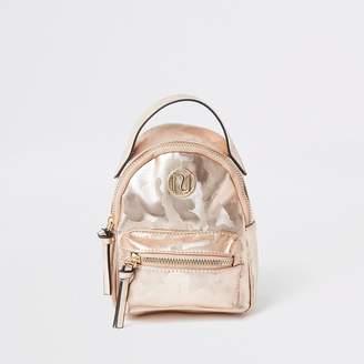 River Island Girls pink camo backpack