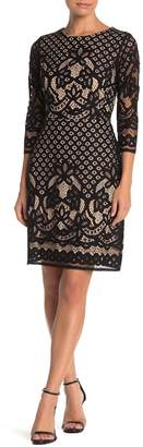Gabby Skye Lace 3/4 Sleeve Sheath Dress