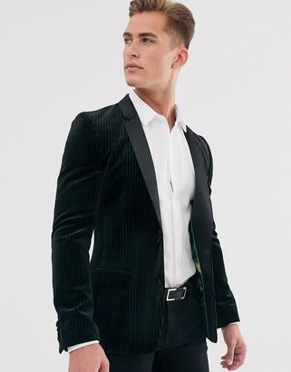 ASOS DESIGN super skinny tuxedo blazer with plisse velvet in black