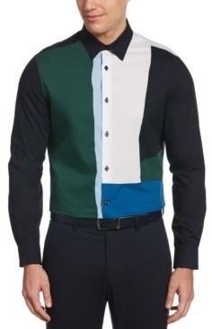 Perry Ellis Men's Large Color Block Long Sleeve Button-Down Shirt