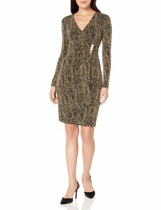Calvin Klein Women's Metallic Faux Wrap Dress