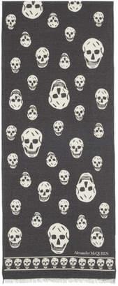 Alexander McQueen Black and Ivory Wool Skull Scarf