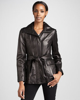 Cole Haan Leather Belted Jacket