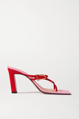 Wandler Yara Two-tone Leather Mules - Red