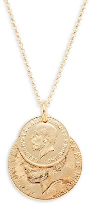Saks Fifth Avenue Made In Italy Goldplated Sterling Silver Double Coin Pendant Necklace