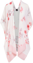 Lvs Collections LVS Collections Women's Kimono Cardigans CORAL - Coral & White Floral Cape-Sleeve Kimono - Women