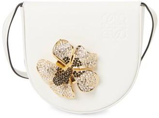 Loewe Small Heel Crystal-Embellished Floral Leather Saddle Bag