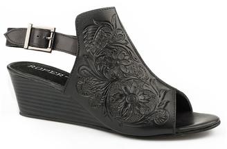 Roper Women's Western Boots BLACK - Black Floral Embossed Leather Wedge Sandal - Women