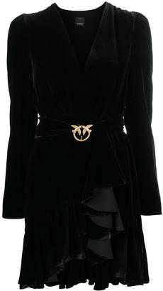 Pinko Ruffled Velvet Mini Dress
