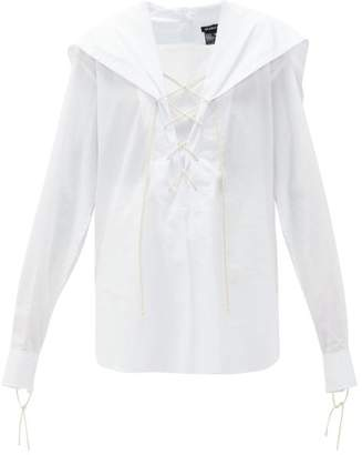 Ann Demeulemeester Sailor-collar Laced-neck Cotton Blouse - Womens - White