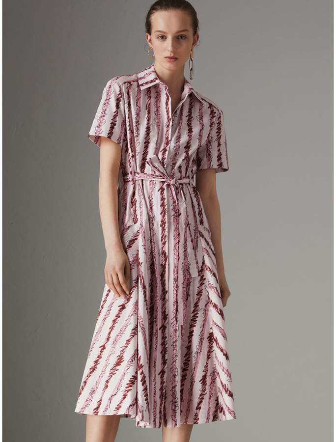 Burberry Scribble Stripe Cotton Shirt Dress , Size: 06, Pink