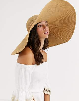 Asos Design DESIGN large straw hat with size adjuster in brown
