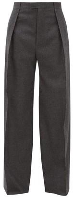 Bottega Veneta High-rise Wool-blend Flannel Wide-leg Trousers - Womens - Dark Grey