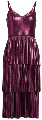 Marchesa Pleated Tiered Metallic Midi Dress