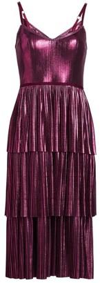 Marchesa Pleated Tiered Metallic Midi Dress