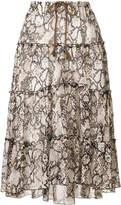 See by Chloe tiered snakeskin-print midi skirt