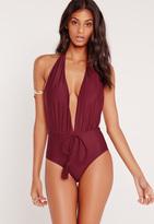 Missguided Halterneck Plunge Swimsuit Burgundy