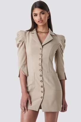BEIGE Tina Maria X NA-KD Front Button Blazer Dress