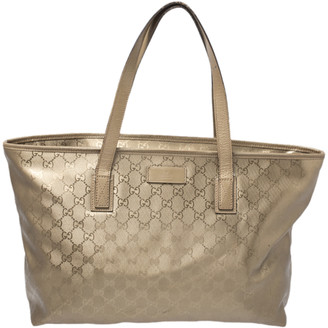 Gucci Gold GG Imprime Canvas and Leather Shopper Tote