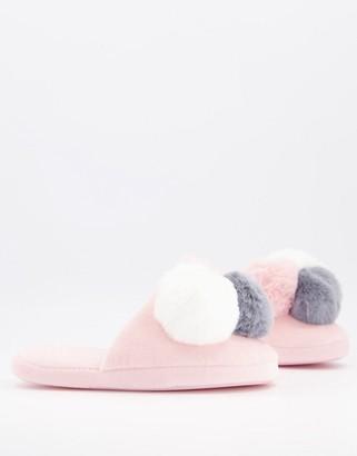 ASOS DESIGN Zanders pom-pom slippers in pink