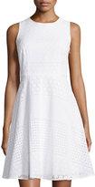 Neiman Marcus Sleeveless Eyelet Fit-and-Flare Dress, White