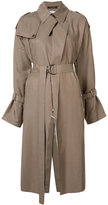 Y's belted trench coat - women - Cupro/Cotton/Linen/Flax - 1