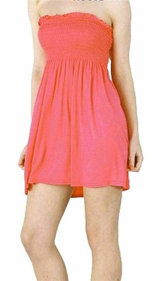 ER Traders Womens Ladies Strapless Sheering Boobtube Gather Bandeau Top Summer Mini Dress (Mustard UK 20-22)