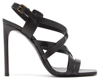 Saint Laurent Bea Crossover-strap Leather Sandals - Womens - Black