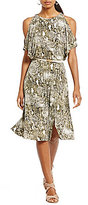 Jones New York Snake Print Matte Jersey Slit Dolman Sleeve Belted Dress
