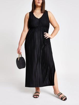 River Island Ri Plus Jersey Pleated Maxi Dress-black