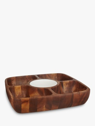 John Lewis & Partners Wooden Serving Dish With Ceramic Bowl