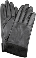 Dents Leather Gloves with Faux Fur Cuff