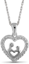Diamond Sterling Silver Mom and Child Heart Pendant Necklace by JewelonFire