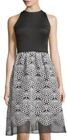 Taylor Sleeveless Organza Skirt Dress, Black/White