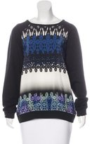 Tibi Silk-Accented Abstract Print Sweatshirt