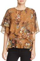 d.RA Kent Ruffled Floral-Print Top