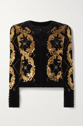 Balmain Sequined Embroidered Cotton-velvet Jacket - Black