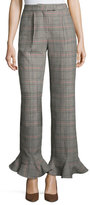 Rosie Assoulin Cropped Ruffle-Hem Plaid Pants