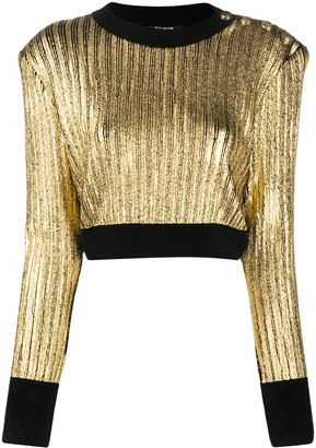 Balmain Metallic-Effect Ribbed-Knit Jumper
