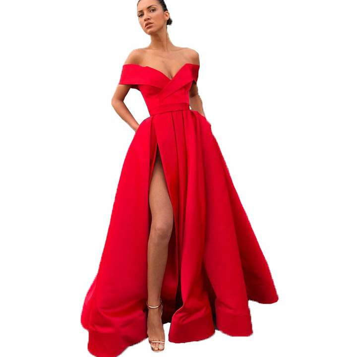 1126951376 Red Satin Prom Dress - ShopStyle Canada