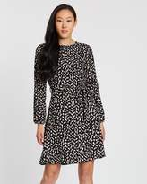 Dorothy Perkins Pleated Neck Fit-and-Flare Dress