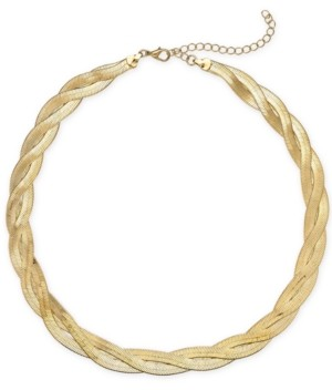 "Thalia Sodi Gold-Tone Gold-Tone Braided Herringbone Collar Necklace, 17"" + 3"" extender, Created for Macy's"
