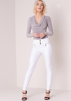 Missy Empire Dulce White Wet Look Skinny Biker Jeans