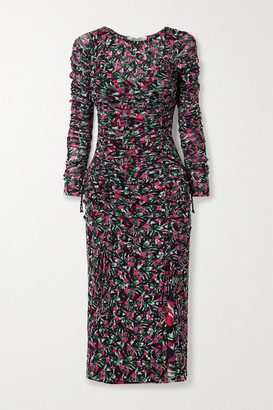 Diane von Furstenberg Corinne Ruched Floral-print Stretch-mesh And Crepe Dress - Black