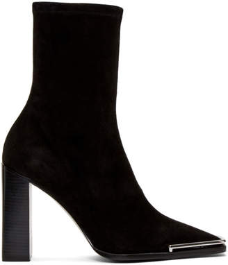 Alexander Wang Black Stretch Suede Mascha Halo Boots