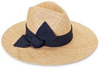 Raffaello Bettini Ribbon-Trimmed Wide-Brim Straw Hat