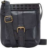 Black Wide-Stitch Crossbody Bag