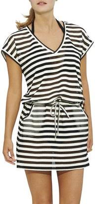 Calvin Klein Women's Mesh Stripe Tunic Cover Up