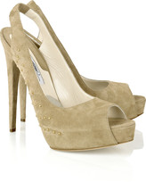 Brian Atwood Ambrose studded suede peep-toes